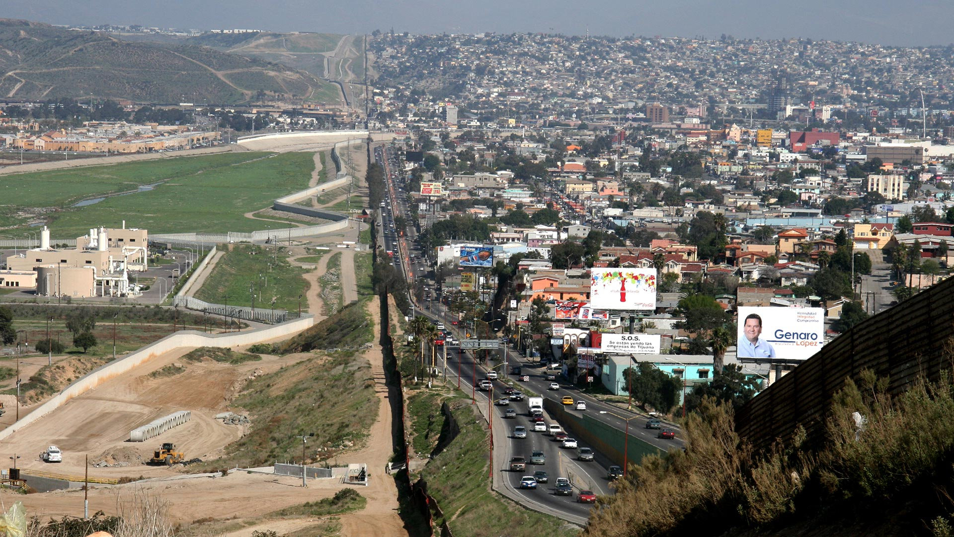 Muur op de grens van Mexico en Verenigde Staten